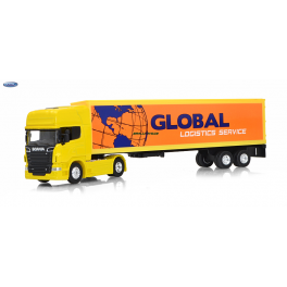 Scania V8 R730 Welly 1:64 Global Logistics