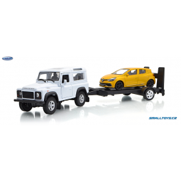 Land Rover Defender a Renault Clio RS Trailer set Welly